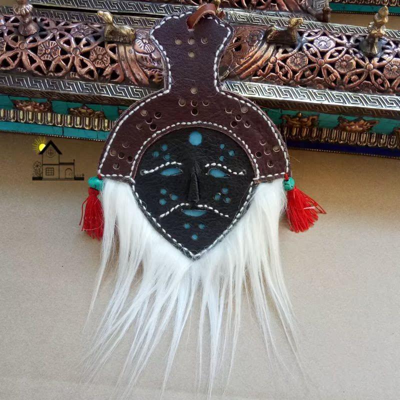 西藏旅游礼物 藏族特色手工艺挂饰 皮质藏戏小面具挂件 藏式车挂