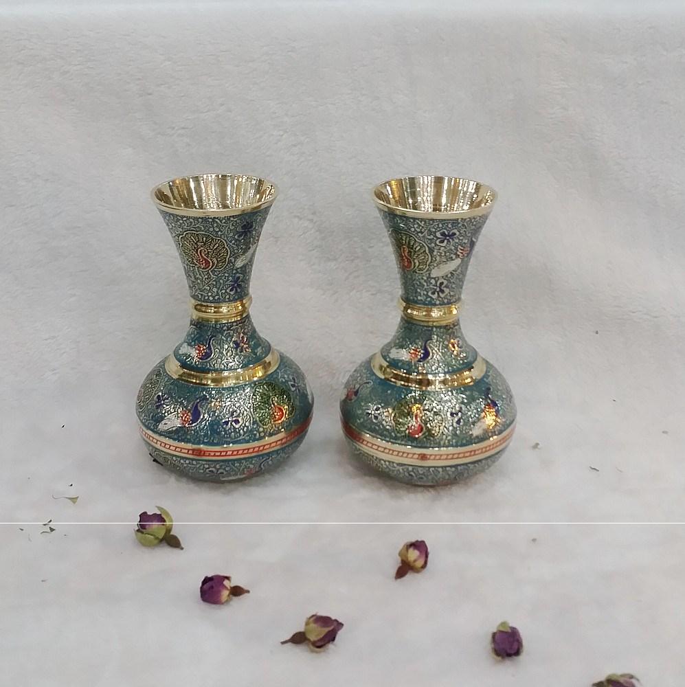 代购印度工艺品 铜雕8英寸纯铜制品孔雀图案圆肚花瓶餐厅酒店摆件