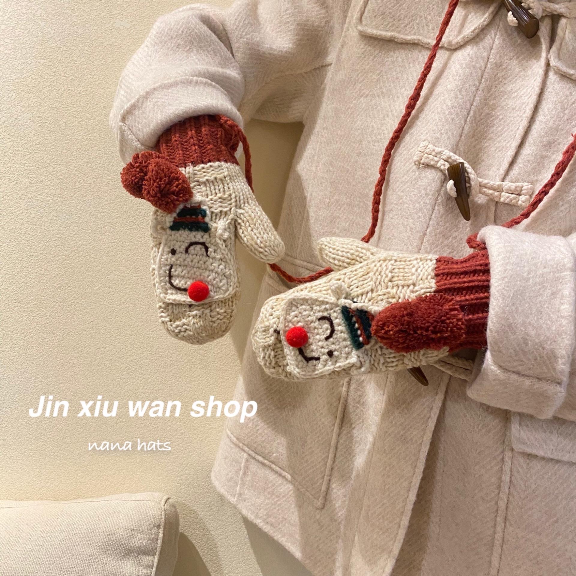 韩国可爱加绒棉手工毛线手套女冬季保暖学生加厚挂脖连指手套软妹