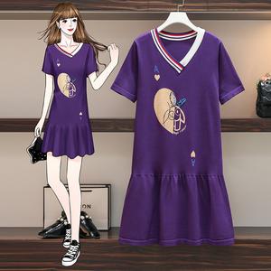 YF40639# 大码女装夏季新品洋气减龄可爱卡通图案遮肚显瘦针织连衣裙 服装批发女装直播货源