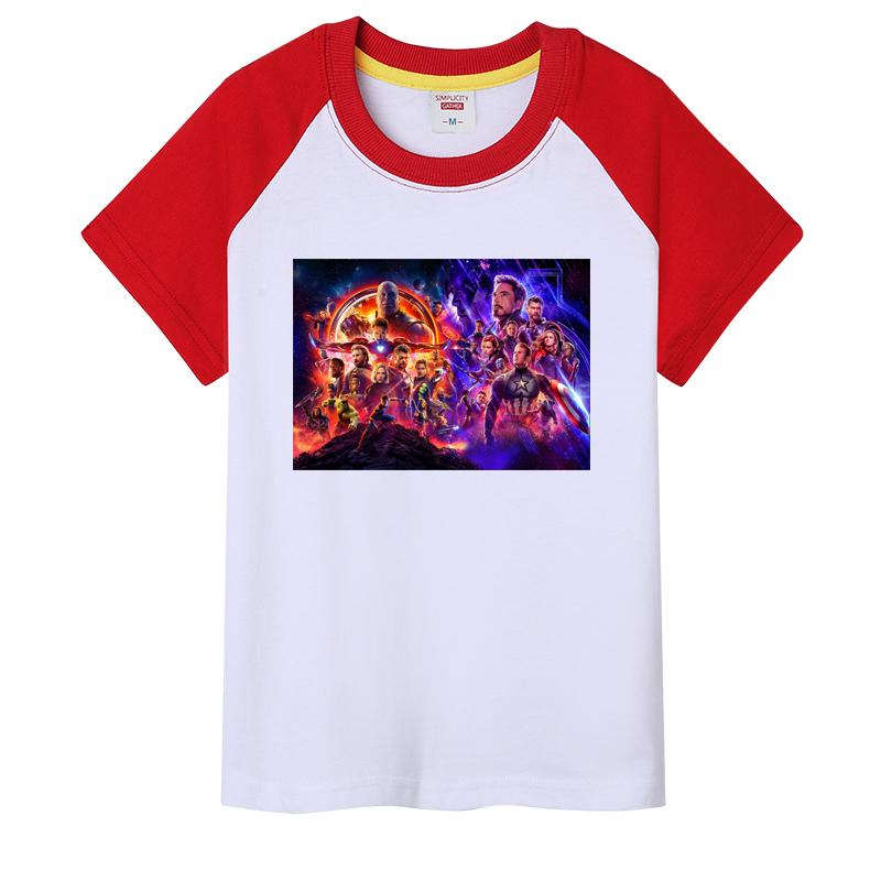 印花图案男童女童亲子装衣服复联4惊奇队长和灭霸卡通动漫儿童T恤
