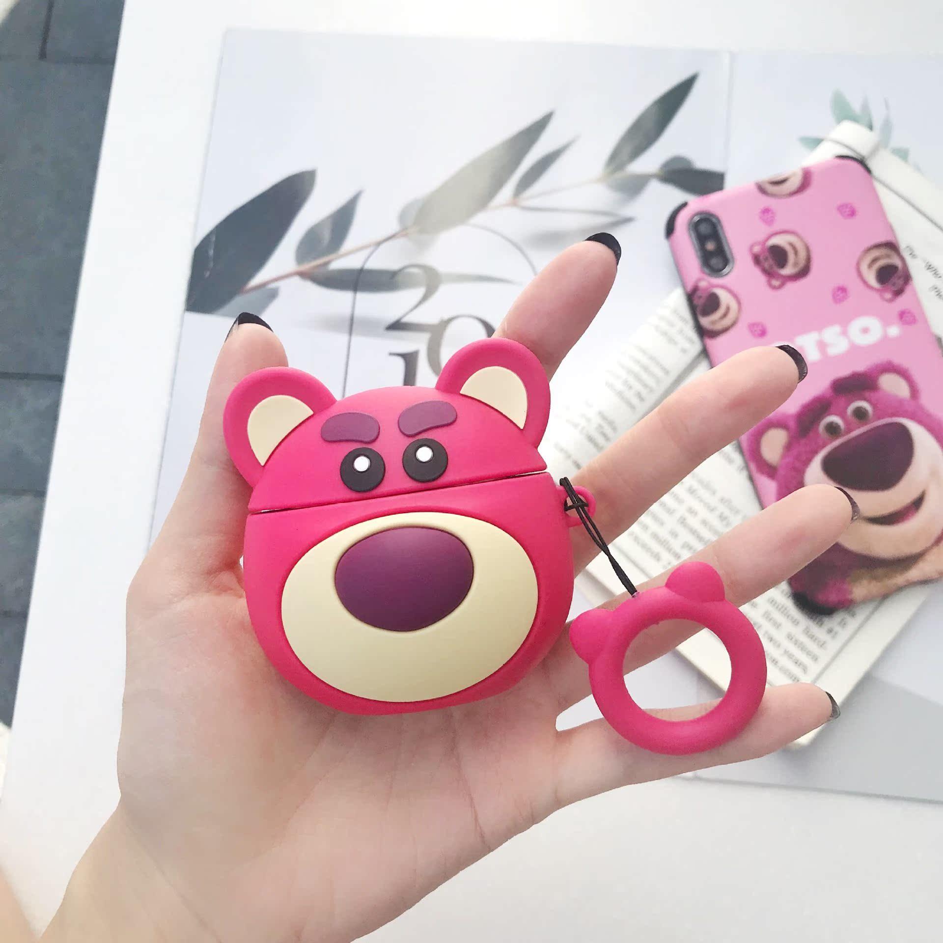 暴力熊苹果AirPods保护套潮牌1.2代保护壳无线耳机套立体粉熊适用,可领取2元淘宝优惠券