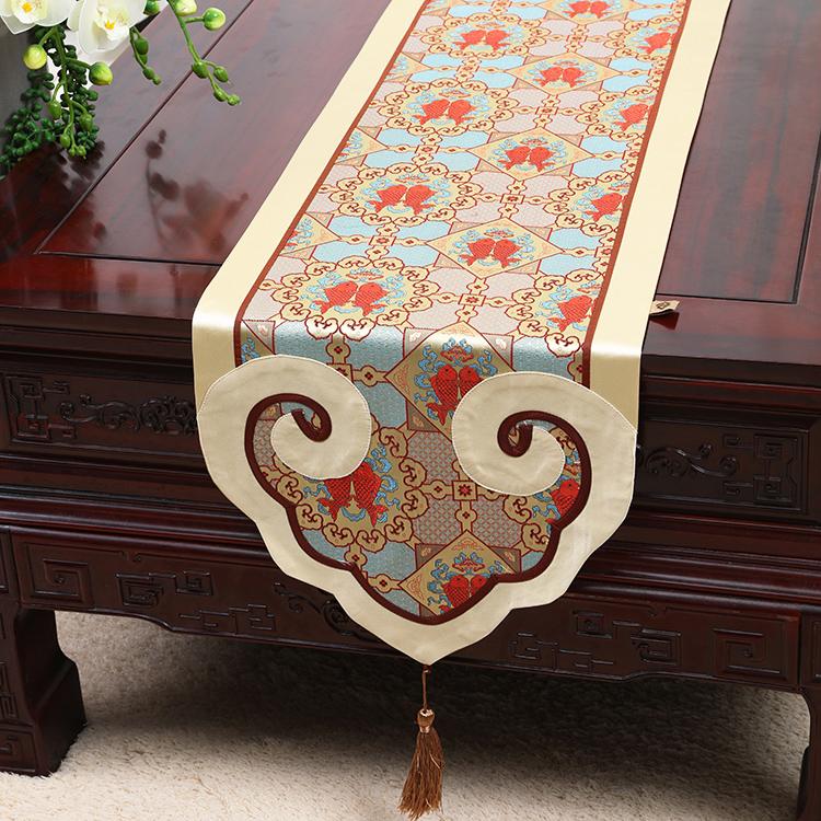 新中式桌旗桌条茶几旗床旗餐垫红木家具简约现代餐桌布