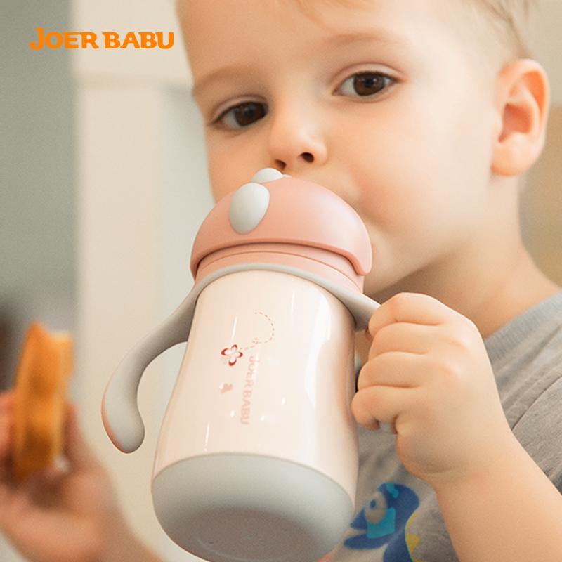 小袋鼠巴布儿童保温杯带吸管杯宝宝水杯婴儿学饮杯两用鸭嘴杯水壶