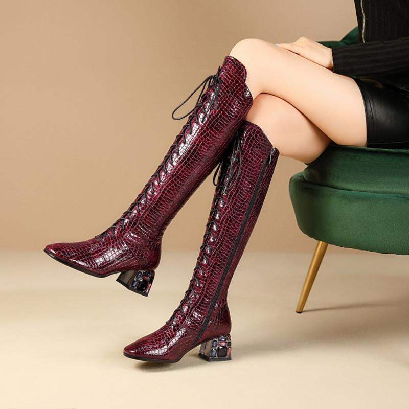 Fashion brand cross strapping high boots Knight boots stone grain leather winter Plush Knee Boots