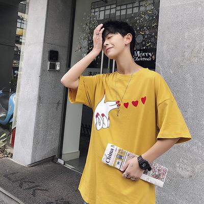 2019春夏新款港风短袖T恤男比心印花宽松大码潮流黄217款P36-控50