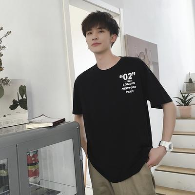 2019春夏新款港风短袖T恤男时尚印花宽松大码潮流桔1981款P43控65