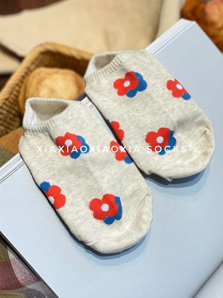 【满五双包邮】韩国进口夏季女船袜泫雅风甜美花朵浅口袜隐形袜套