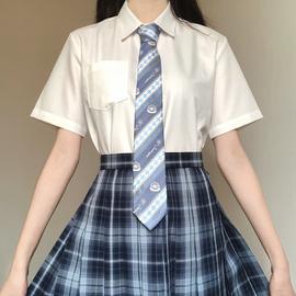 刺篇原创 jk制服日系角襟丸襟短袖衬衫基础款黑白尖领圆领衬衫女