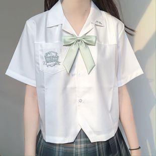刺篇原创星河中 星迹高 jk制服原创刺绣开襟短袖白衬衫女夏款品牌
