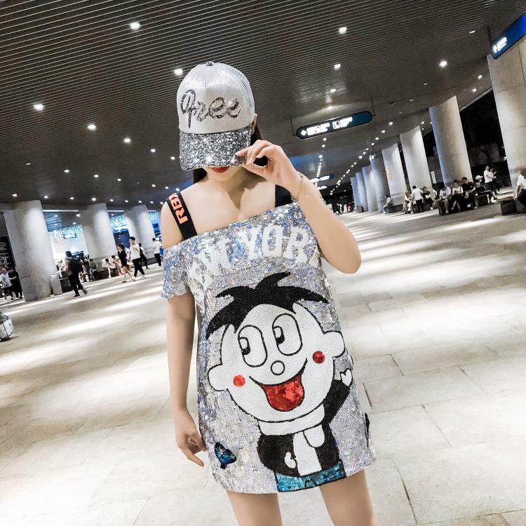 時尚一字肩女寬松短袖嘻哈潮牌大碼女裝2019泰國潮牌亮片上衣