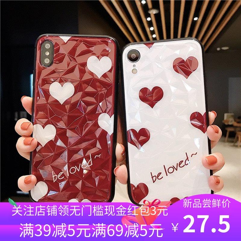 适用iPhoneXsMax手机壳苹果8简约爱心菱形钻石纹XR女生款6S保护套