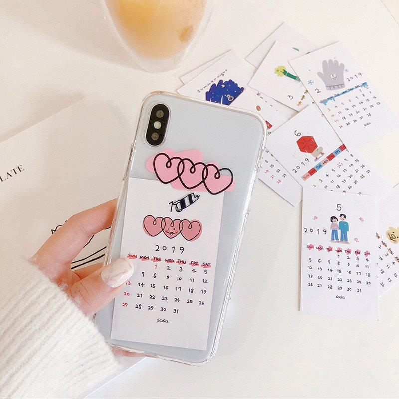 爱心日历卡片苹果XS Max/XR适用手机壳iPhone8plus/7p/6s个性软壳