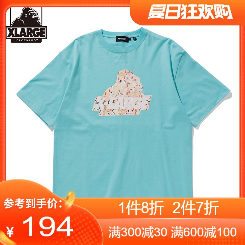 XLARGE半袖T恤大猩猩logo印花夏装棉质T恤潮 宽松圆领男士短袖T恤