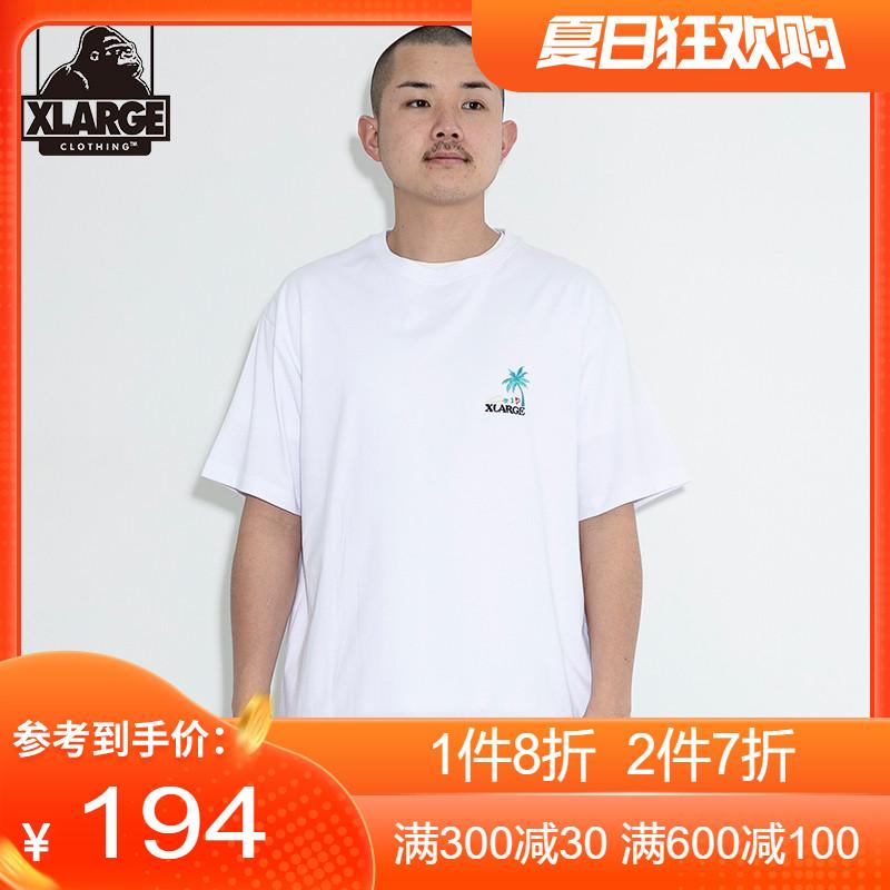 XLARGE夏装T恤胸前夏日风刺绣设计 纯色圆领棉质短袖T恤男士潮流