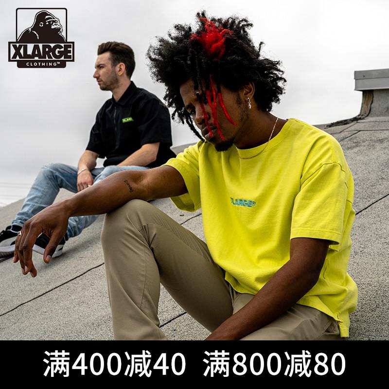 XLARGE夏季棉质半袖T恤衫 街头潮流纯色百搭字母刺绣男士短袖T恤