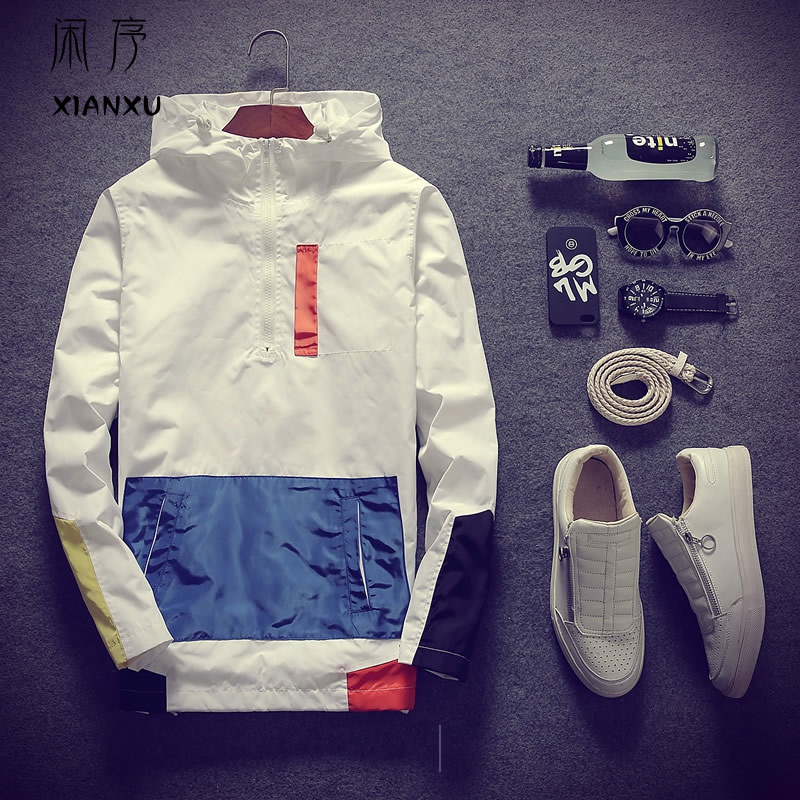 Spring Jacket Hoodie cover half zipper charge coat spring and autumn mens fashion baseball mens tooling coat