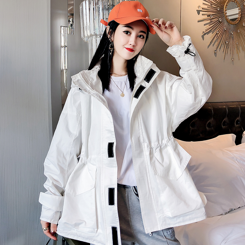 网红魔术贴中长款风衣女2020春季新款韩版ulzzang宽松连帽外套潮