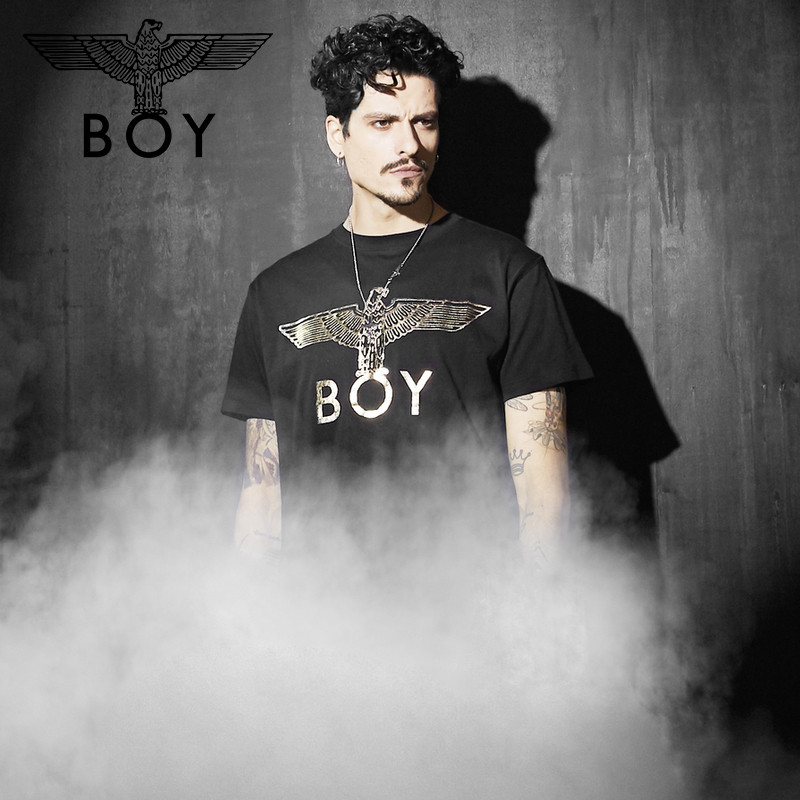 Boylondon flagship official website spring summer official gilded eagle logo printed couple short sleeve T-shirt 701202