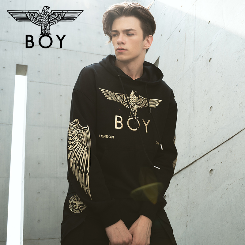 Boy london2019 Eagle symmetrical big wings full embroidery couple Hoodie b193nb101402