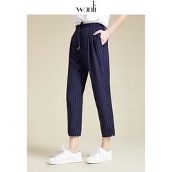 万丽(服饰)女装 2020夏季新款休闲裤女条纹九分裤运动裤