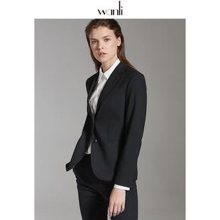 万丽(服饰)黑色西装外套女2020年秋季新款修身职业西装女正装品牌