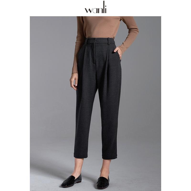 万丽(服饰)休闲裤女士秋新款九分裤通勤直筒西装裤灰色