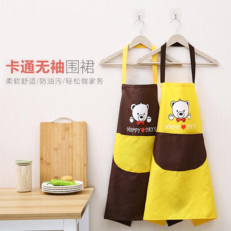 日式简约棉麻围裙男女情侣厨房做饭防油围腰时尚无袖成人家居罩衣