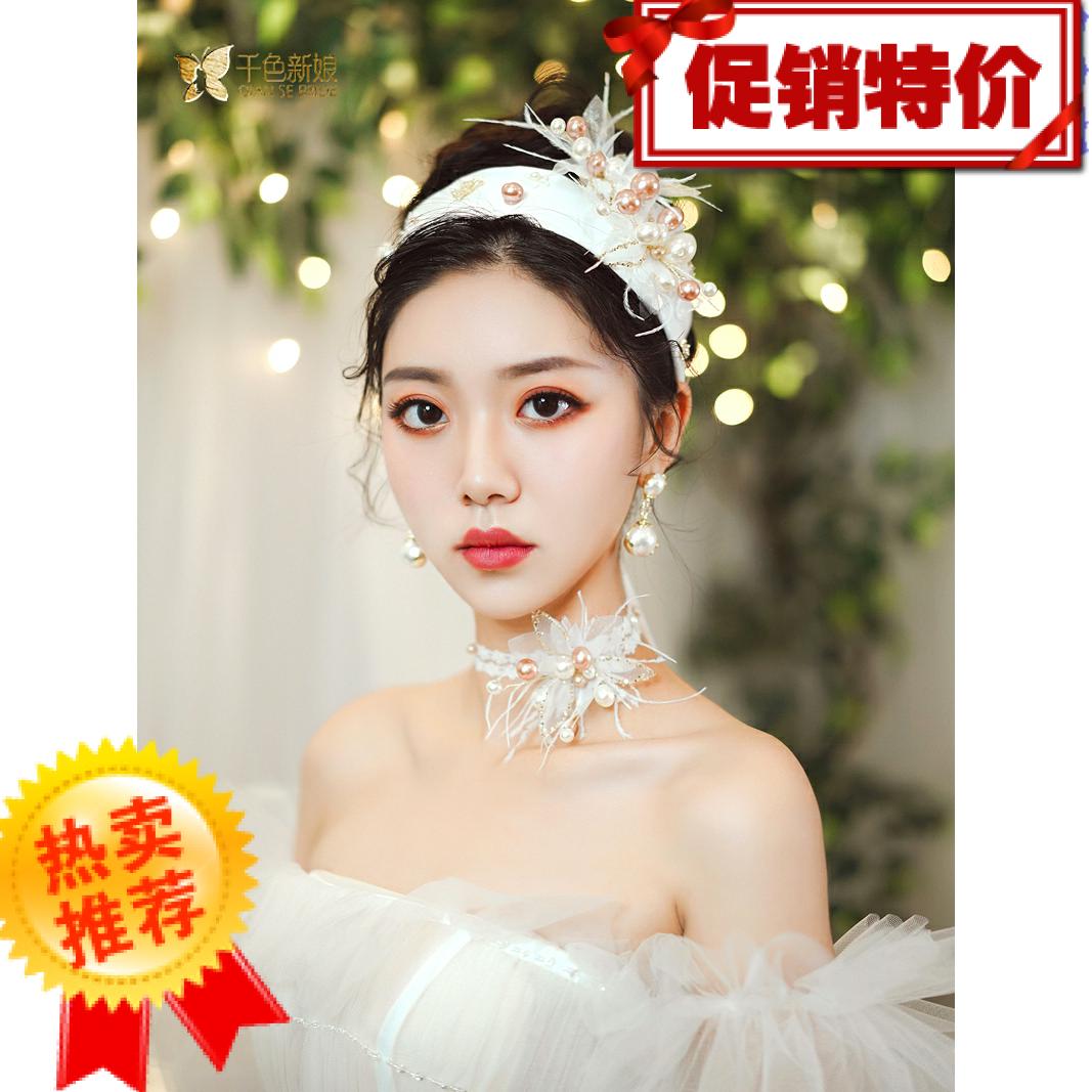 新品原创手工花朵亮片缎面发带影楼摄影跟妆造型炎采新娘结婚头饰