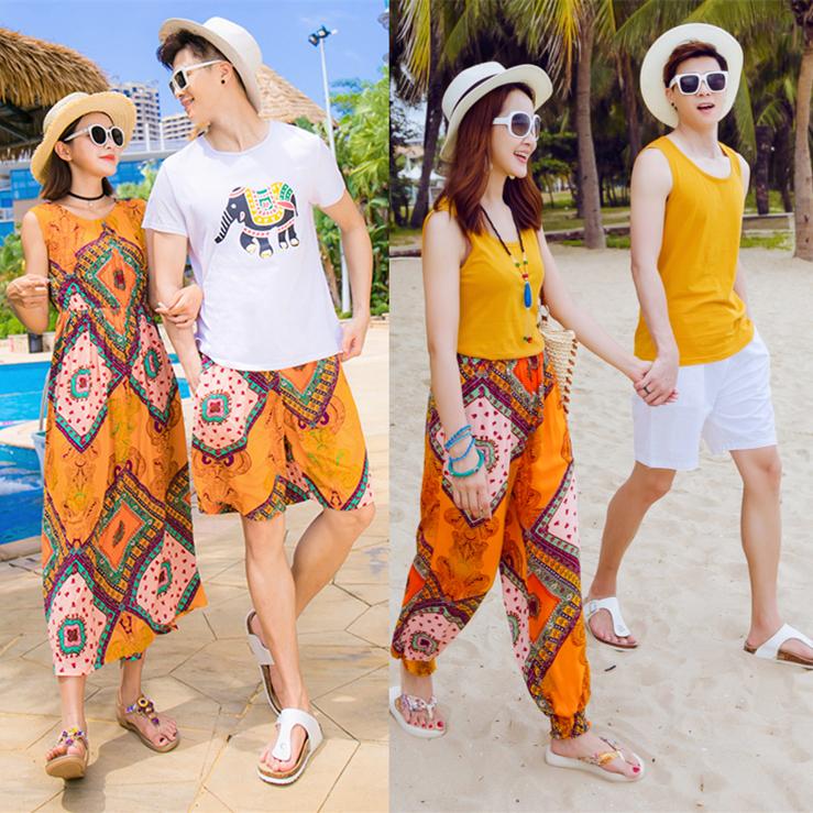 情侣泰国沙滩装2019夏装ins超火男女海滩裤蜜月度假亲子长裙超仙