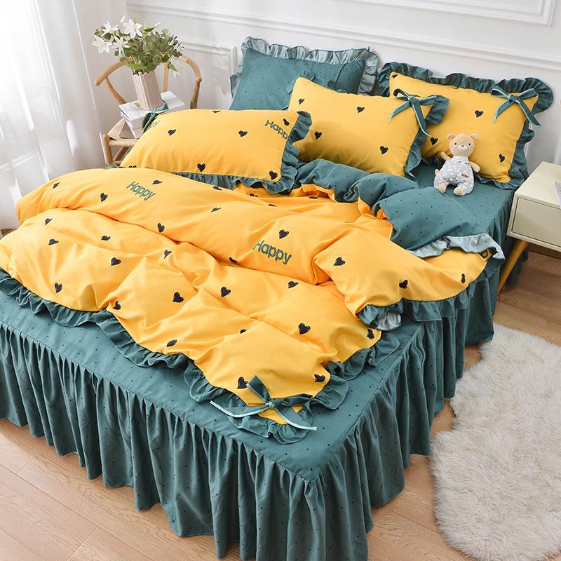 床裙款四件套少女公主风水洗棉床单质量如何