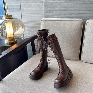厚底长靴女2021秋冬新款平底不过膝显瘦长筒靴中筒弹力英伦骑士靴