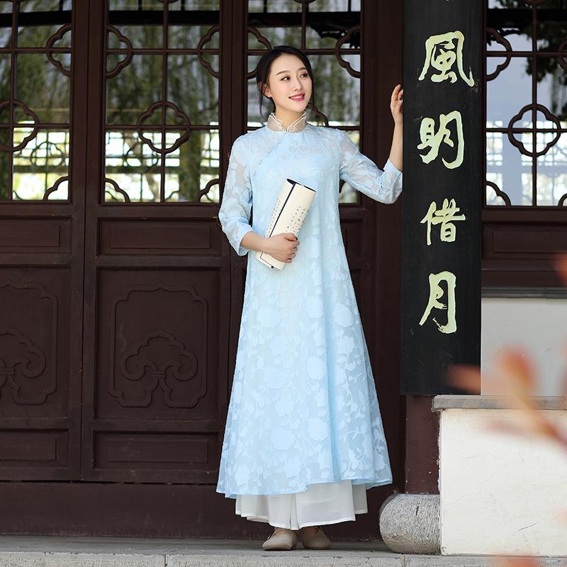【起念】之云水谣 新加淡蓝色 雪纺提花中式长裙连衣裙女 L034