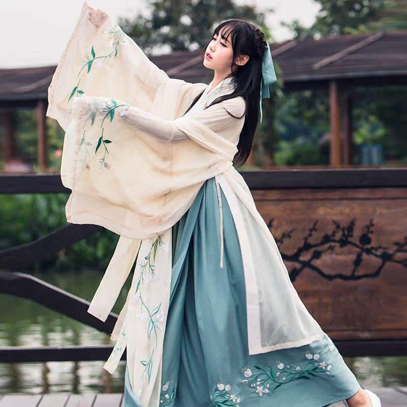汉服广袖襦裙古装女中国风流仙裙魏晋风学生日常改良杜若古风 夏