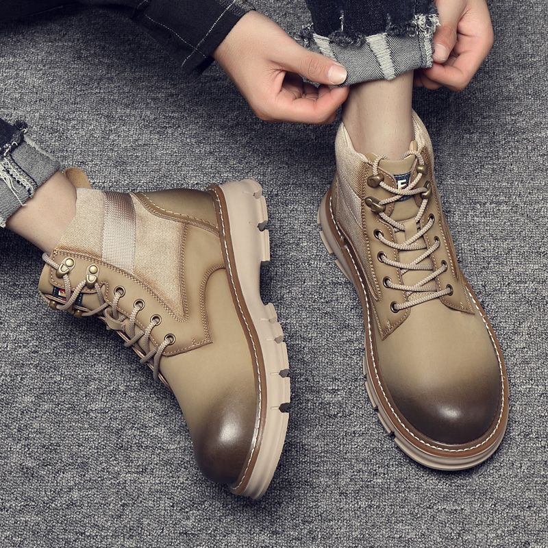 Mens Martin boots high top British Wind boots work clothes desert boots autumn fashion mens boots leather casual mid top boots