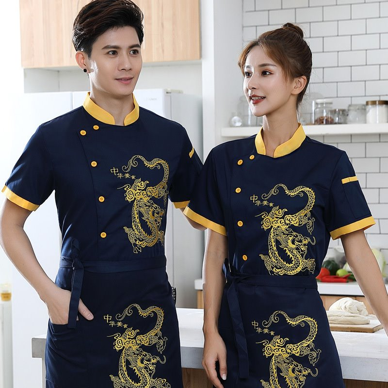 High grade canteen chefs clothes summer short sleeve pastry masters work clothes bread hamburger clothes baking barbecue uniform