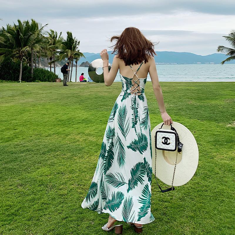 很仙的泰国海南三亚沙滩裙女海边度假气质吊带连衣裙夏款超仙长裙