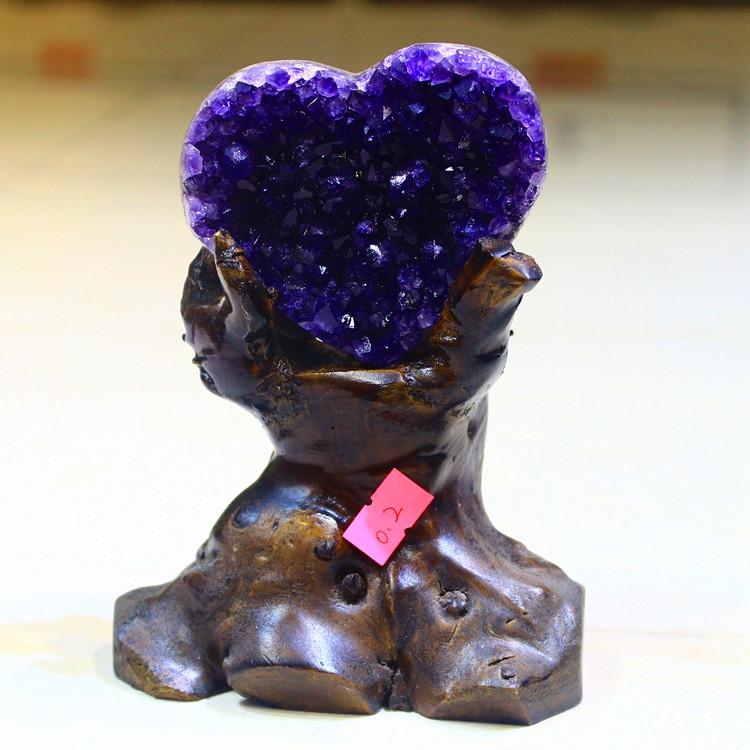 2021原石 6无水泥 天然紫晶簇紫晶洞块摆件