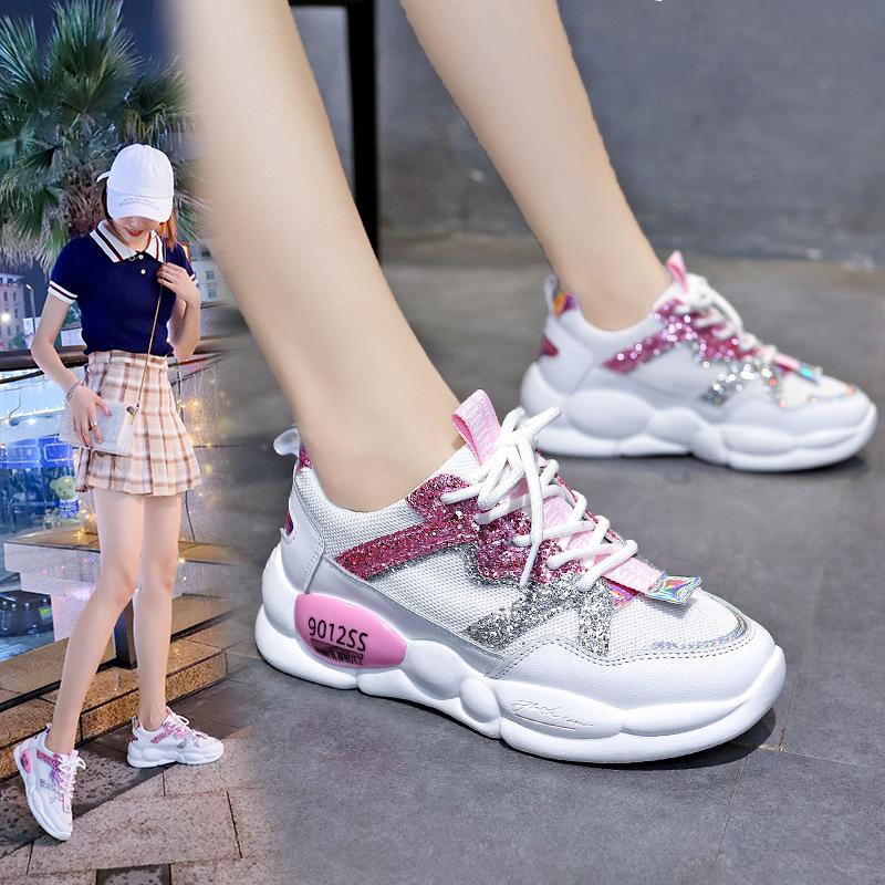夏季运动鞋女学生ins 潮流休闲透气网面轻便厚底内增高小白鞋2019