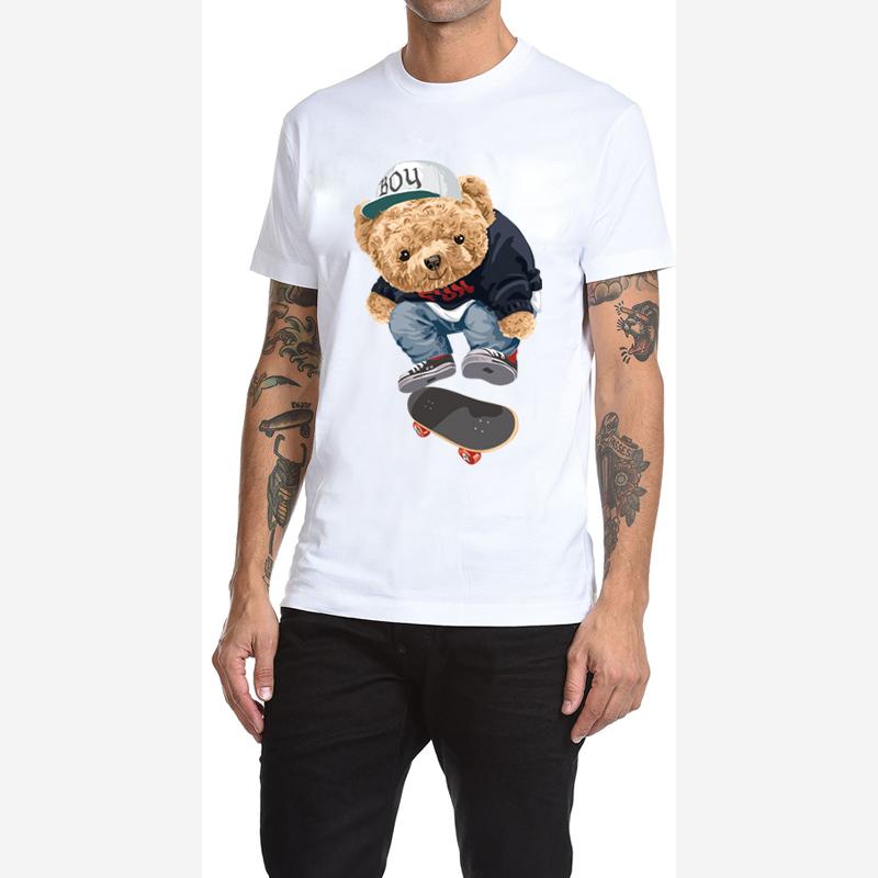 Mens summer T-shirt trendy punk hip-hop cartoon T-shirt casual half sleeve T-shirt Street retro skateboard