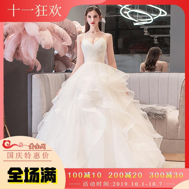 婚纱2019新款新娘小个子森系显瘦超仙梦幻结婚主婚纱裙简约出门纱券后268.00元