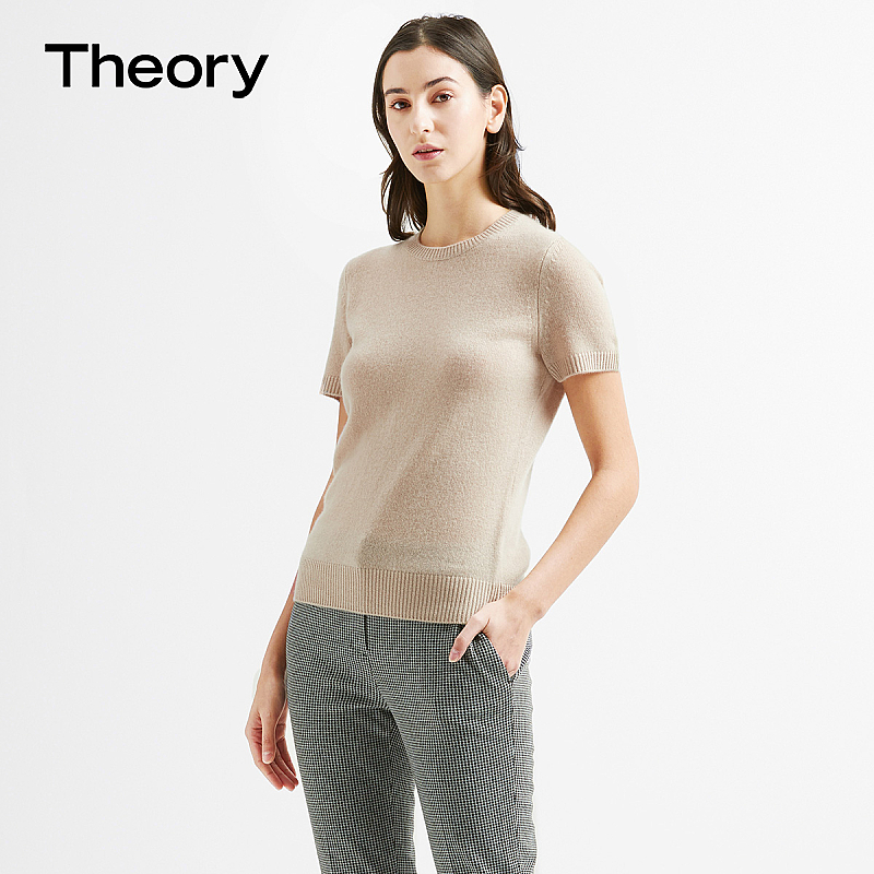 Theory women's full cashmere round neck short sleeve sweater J0118706