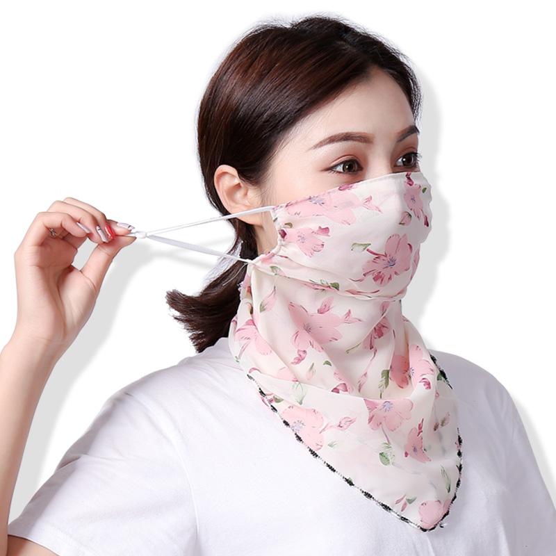 年中大促夏季防晒面罩全脸防紫外线挂耳雪纺口罩围巾防尘围脖薄款