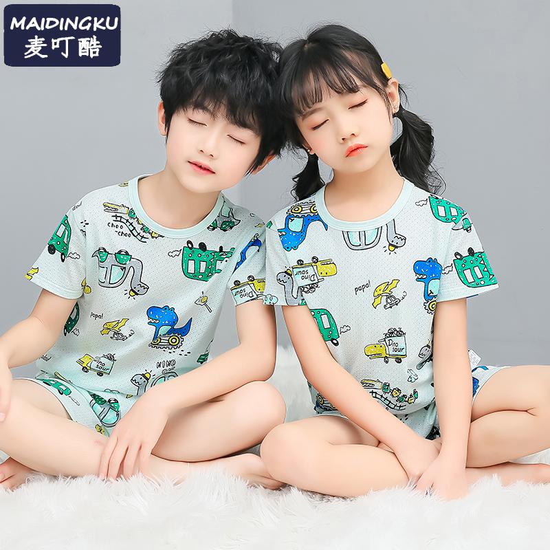 夏季儿童睡衣薄款纯棉男童女宝宝可爱超萌家居服中大童空调服套装