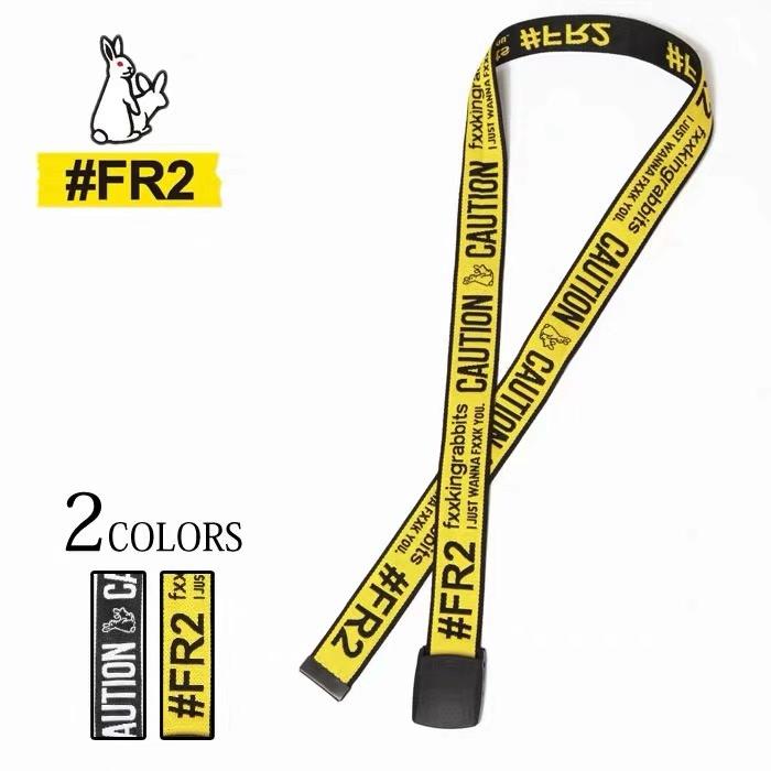 Trendy brand fr2# versatile canvas belt mens and womens fxxking ribbons caution long belt
