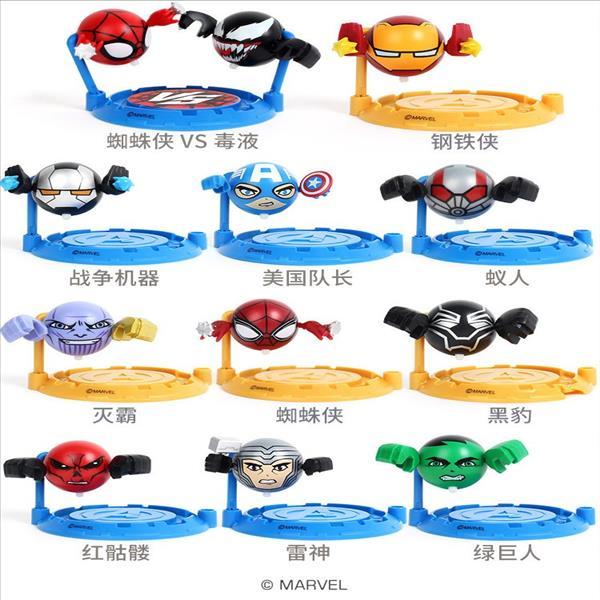 爱动蜘蛛侠小钻风4漫威玩具收集毒液陀螺球正版男孩儿童小转风