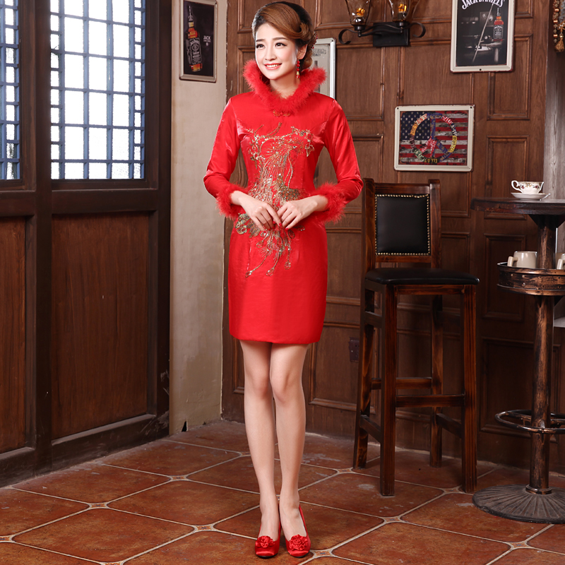 Brides cheongsam thickened winter long sleeve red wedding dress fashion improved wedding banquet Cotton Lined cheongsam skirt toast dress