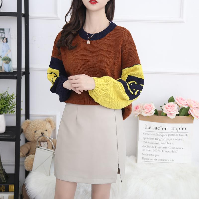 8840a新款实拍韩版套头加厚针织衫灯笼袖圆领毛衣