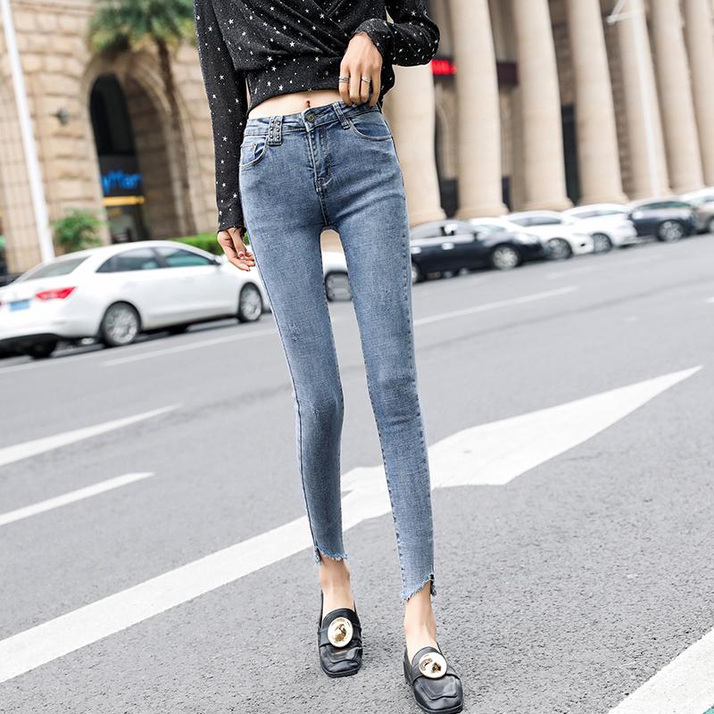 實拍2019新款春秋九分鉛筆牛仔褲女韓版緊身小腳彈力修身顯瘦A311