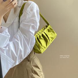 小众设计包包女2020新款潮网红时尚褶皱腋下包百搭丝绒手提小包